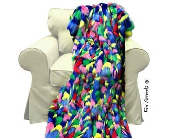 Plush Faux Fur Throw Blanket - Stained Glass Design - Traditional Designer Throw - 100% Animal Friendly Fur Accents - USA