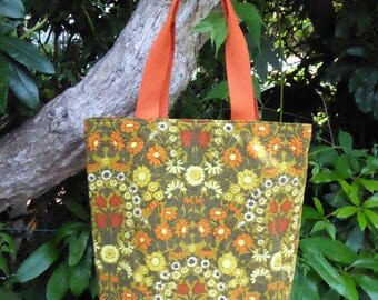 Tote bag, shopper, made from vintage 1970s Jonelle 'Daisy Chain' fabric, designed by Pat Albeck