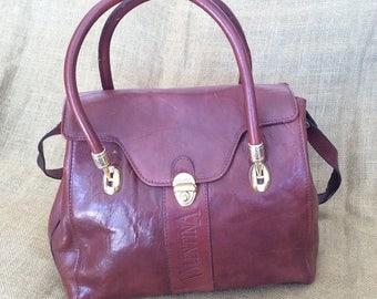 20% OFF SUMMER SALE Vintage Valentina auburn brown leather satchel shoulder bag purse