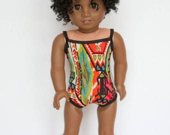 American Girl doll sized one piece swimsuit - multicolored