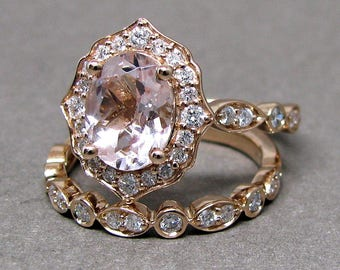 Oval 8x6 Morganite Engagement Ring Diamond Bridal Set Wedding 14k Roe Gold 1 3/5ct Total Weight Vintage Scalloped Design