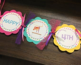 Gymnastic Birthday Banner, Happy birthday Banner,  birthday banner, birthday party banner, Girl Birthday Banner