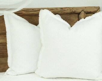 Large linen pillow, large linen cushion, 23 x 23 pillow cover, white linen pillow, white linen cushion, washed linen pillow, white pillow
