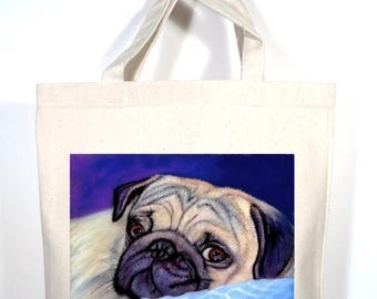 Pug Tote, Pug Tote Bag, Personalized Pug Gift, Pug Shopping Bag, Pug Book Bag