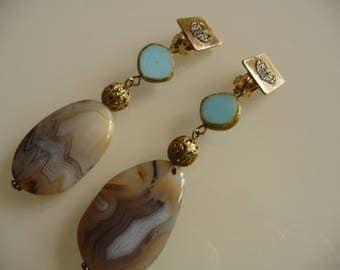 Stones wedding clip earrings