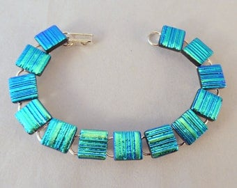 8 Inch Green Blue Dichroic Fused Glass Bracelet, Fused Glass, Fused Glass Bracelet, Glass Bracelet, Dichroic Bracelet, Green Bracelet