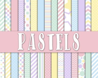 SALE- Pastels Digital Paper - Pastel Colors Digital Paper Pack - 30 Papers - 12in x 12in - Commercial Use -  INSTANT DOWNLOAD