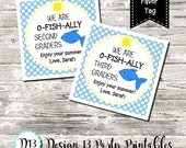 You Are O-Fish-Ally A... First Day Last Day of School Square Tag Favor Tag Blue Polka Dot Digital Printable