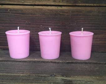 Set of 3 Pink Votive Candles  / Highly Scented / Over 75 Scents