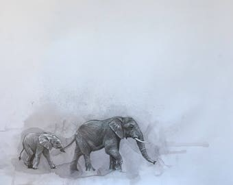 Mama and baby elephant fine art print