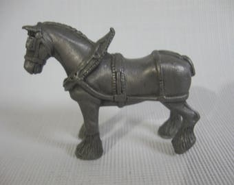 Draft Horse Pewter Figurine - Clydesdale in Harness