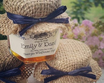 Christmas in July - Sale Georgia Honey Favors - 100 (1.5oz) Honey Jar Favors - Rustic Wedding Favor - Bridal Shower Favor - Thank You Favor