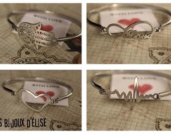 Infinity Love Bangle Hamsa Bangle Tree Bracelet Heartbeat Bracelet Crown Bangle Heart Bangle (BA06) - Stainless Steel