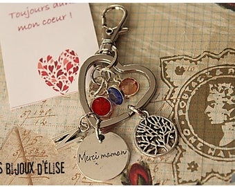 Personalized Family / Tree Keychain Mother Merci Mamanr Dangle Purse Jewelry (KC64) French Text
