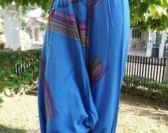 HC0497 Aladdin Pants, Harem Pants 100% Cotton Harem Pants Unisex Low Crotch Yoga Trousers