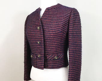 1950s Vintage Blazer / Red / Gold / Navy Blue / Fitted / Long sleeves / Knit