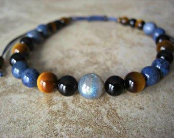 Labradorite, Dumortierite, Tiger Eye, Black Onyx, Men's Bracelet, Men's Jewelry