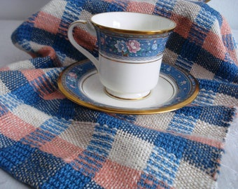 Blue Plaid Collection, Tea Towel #3, Blue, Oat, Peach - Buffalo Check