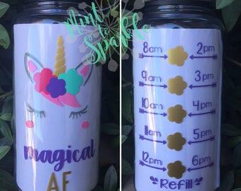 Magical AF unicorn face motivational water bottle with hourly time tracker