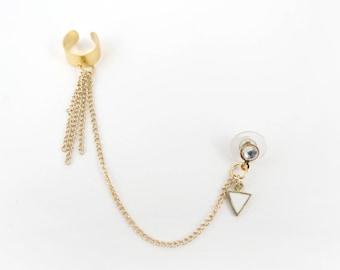 Gold Chain Tassel Ear Cuff, Fashion Earrings, Trendy Fashion, Edgy Trends