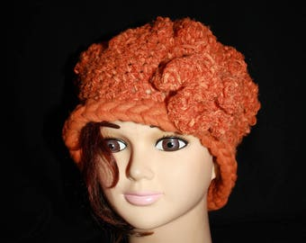 orange hot thread chenille and mohair beret