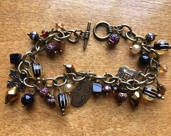 Brass and Citrine Crystal Bracelet