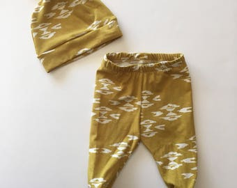 Mustard Wanderer Footed Pants and Knotted Hat, hospital outfit, baby outfit,