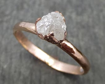 Raw Diamond Solitaire Engagement Ring Rough 14k rose Gold Wedding Ring diamond Stacking Ring Rough Diamond Ring byAngeline 0607