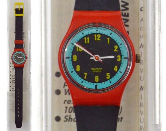 Vintage 80s Swatch Swiss Blue Racer LR107 Quartz Pop Art Watch Wristwatch