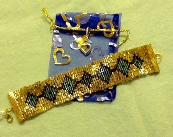 Gold with Blue Diamonds Beaded Bracelet, comes with Gift Bag & Heart Charm
