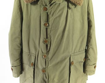 Vintage 30s Swedish M-1909 Overcoat Mens 48 Military Heavy Shearling Coat [H81S_7-1_Leather]