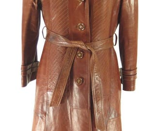 Vintage 80s Leather Trench Coat Womens 8 Belted Brown Overcoat Skin Gear [H30N_3-9_Long]