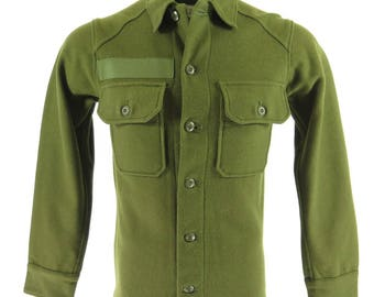 Vintage 60s Wool Army Shirt Mens XS Vietnam Era Deadstock OG-108 Military 1967 [H23W_1-7]