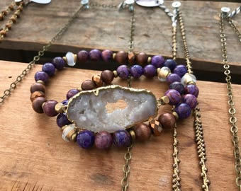 White Druzy and Purple Agate Beaded Bracelet - Double Wrap Beaded Stretch Bracelet - Druzy Bracelet with Purple Crazy Lace Agate
