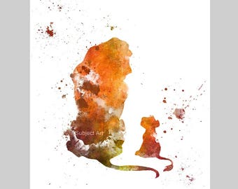 Mufasa and Simba, The Lion King inspired ART PRINT illustration, Disney, Wall Art, Home Decor, Nursery, Gift