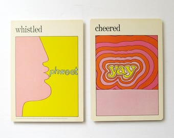whistled cheered - Vintage MOMA Art Cards - Colorful Typography Art - Museum of Modern Art Decor - Vintage Flash Cards Vintage Pop Art Decor