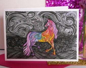 Phoenix Unicorn, Hand Illustrated Greetings Card , Unicorn Card, Rainbow Unicorn Card, Illustrated Unicorn, Hand Illustrated Unicorn