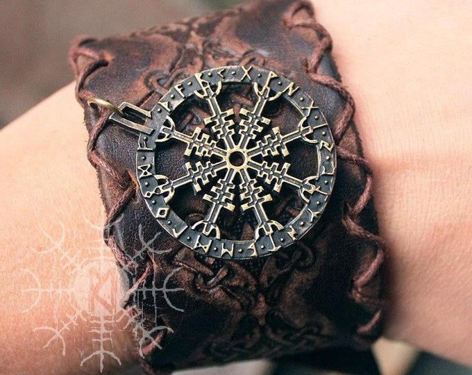 Bronze Aegishjálmur Helm of Awe Futhark Vikings Amulet Pendant Talisman Leather Bracelet