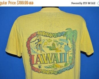 XMAS in JULY SALE 60s Hawaii Surfing Rainbow Distressed t-shirt Large