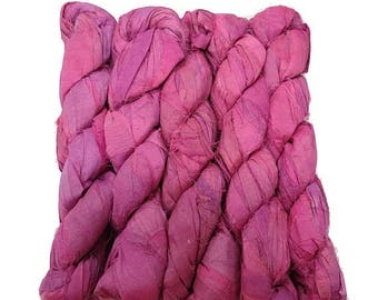 SALE New! Recycled Sari Silk Ribbon, 100g skeins , Irises