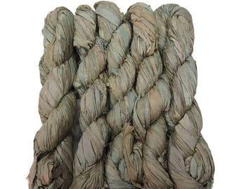 SALE New! Sari Silk Ribbon, 100g , Color: Light Olive green