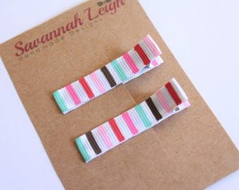 striped pink white turquoise red brown hair clips girls grosgrain ribbon