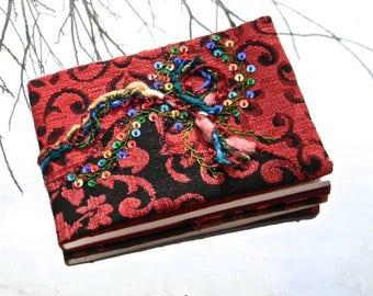 Embroidered CB 03 notebook - artist book, travel, guest book...