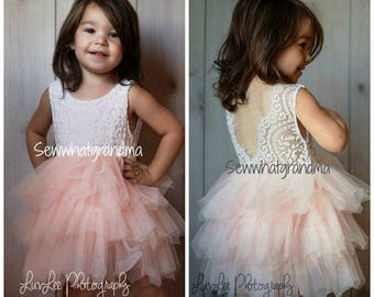 Back Order: Off White Blush Tulle Flower Girl, Layers Tulle, Pink Tutu Dress, Cowgirl, Ballet Tutu, Birthday, Cake Smash, Photography Dress