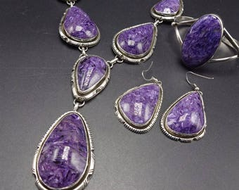 Vintage NAVAJO Sterling Silver & CHAROITE SET Necklace Earrings Bracelet