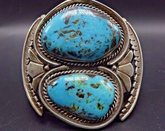 Vintage Navajo Sterling Silver & BLUE DIAMOND TURQUOISE Cuff Bracelet 98g