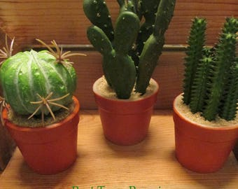 Set of Three Different Artificial Cacti in Miniature Pots - Hand painted pots with Realistic Cactus Collection (Set of Three, as Shown)