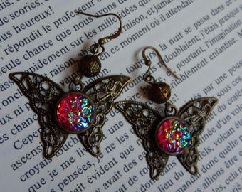 Steampunk bronze butterfly earrings