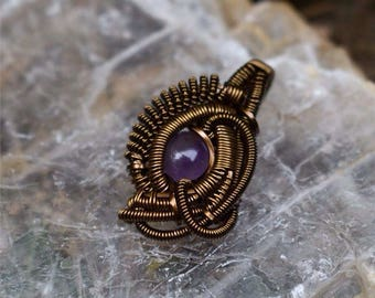 Amethyst Mechanical Seedling Amulet - Copper wire wrapped pendant