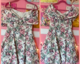 80s floral off the shoulder mini dress